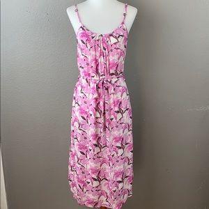 Forever 21 sleeveless floral print tie waist dress